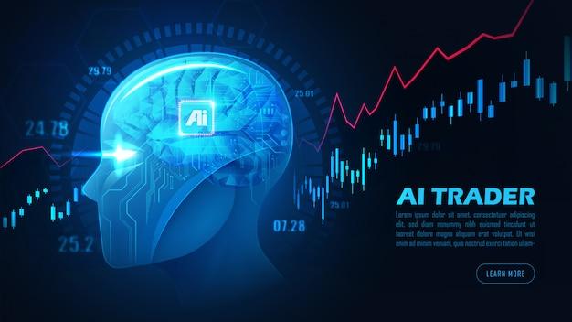 Gráfico del concepto de acciones de comercio de inteligencia artificial o forex