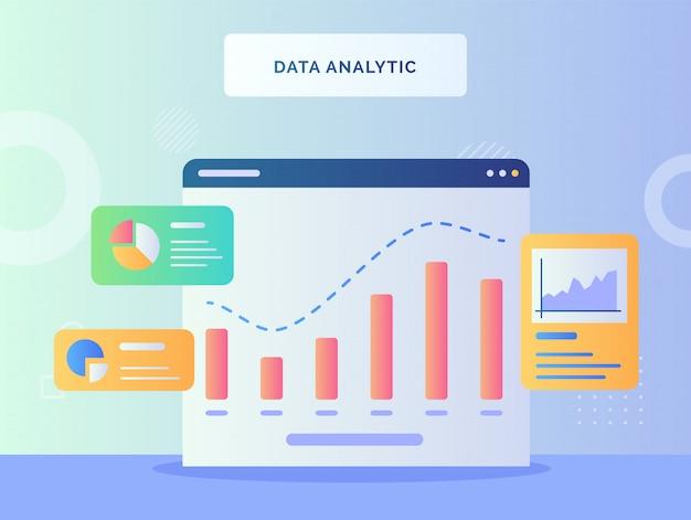 Gráfico de concepto analítico de datos en el fondo de la computadora del monitor del gráfico circular de piezas con estilo plano
