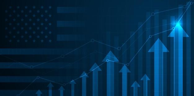 Gráfico de crecimiento en el contexto del gráfico de velas de la bandera de estados unidos américa bolsa de valores