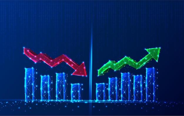 Gráfico de crecimiento poligonal tecnológico con flecha roja hacia abajo y flecha verde hacia arriba