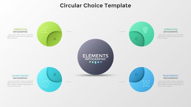 Gráfico con cuatro elementos circulares colocados alrededor del círculo principal. concepto de 4 pasos del proyecto empresarial. plantilla de diseño infográfico colorido. ilustración de vector moderno para visualización de datos, folleto.
