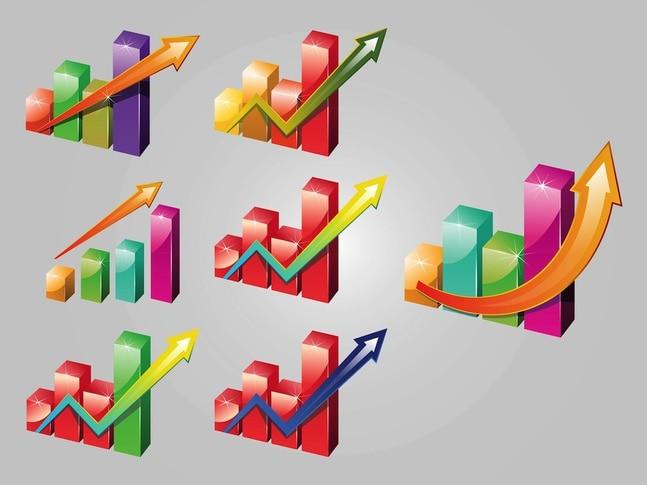 Gráfico de flechas iconos vectoriales brillantes