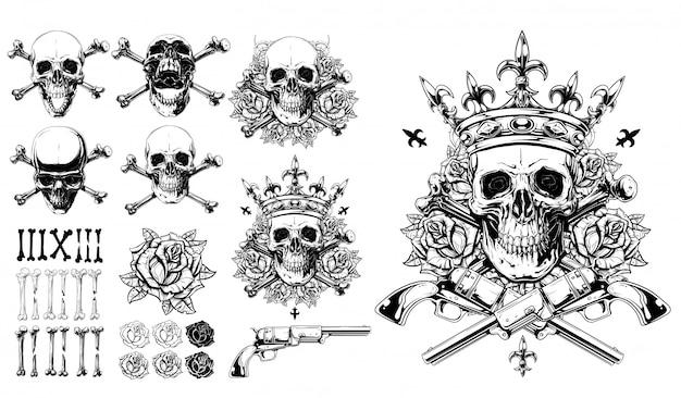 Gráfico detallado calaveras huesos rosas y conjunto de pistola
