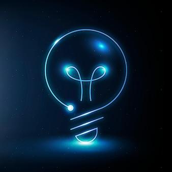 Gráfico digital azul del vector del icono de la educación de la bombilla