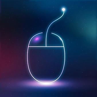 Gráfico digital de neón de vector de icono de educación de ratón de computadora