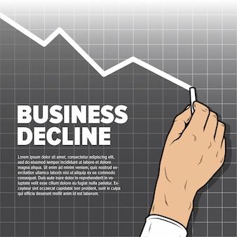 Gráfico de la disminución del dibujo de la mano de businessmans. disminución de beneficios y ventas a la baja.