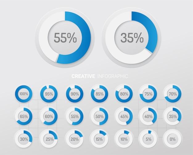 Gráfico de elementos de infografía círculo con indicación de porcentajes.