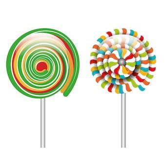 Gráfico espiral de lollipop de dibujos animados aislado