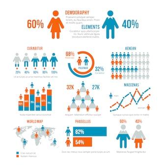Gráfico de estadísticas empresariales, gráfico demográfico de población, elementos vectoriales infografía moderna de personas
