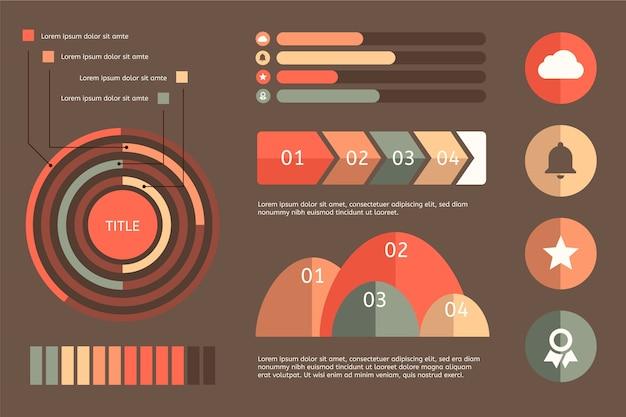 Gráfico y estadísticas infografía con colores retro.