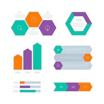 Gráfico estadístico elementos infográficos en diseño plano