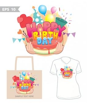 Gráfico de feliz cumpleaños en bolsa y camisa vector