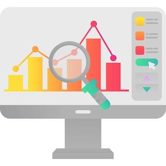 Gráfico financiero de icono de análisis de datos en vector de pc