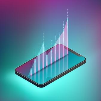 Gráfico fluctuado en el teléfono inteligente.