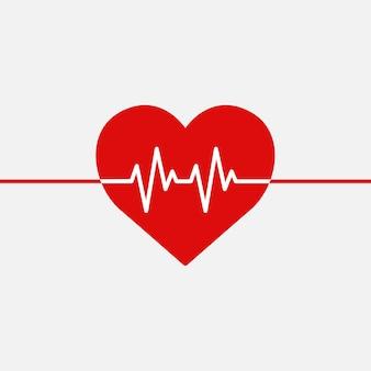 Gráfico de forma de corazón de vector de línea de latido médico rojo en concepto de caridad de salud
