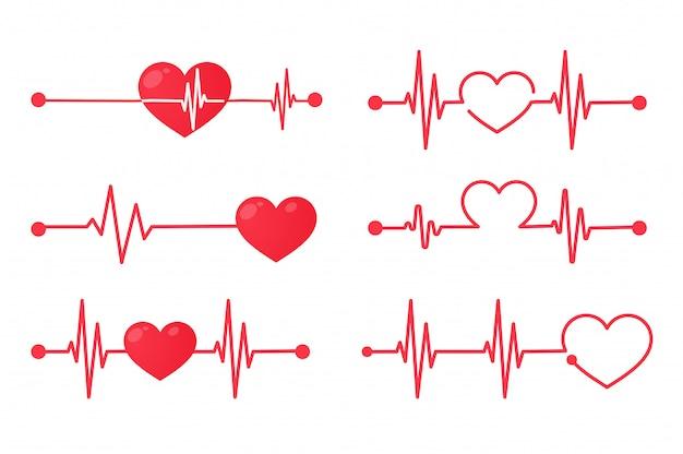 Gráfico de frecuencia cardíaca roja al hacer ejercicio. concepto de salvar la vida del paciente. aislar sobre fondo blanco.