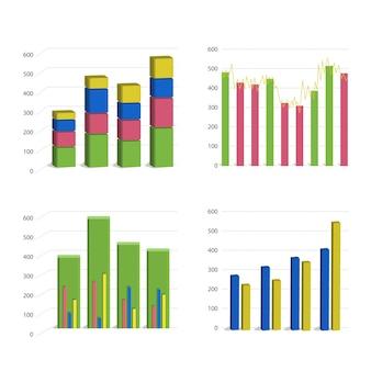 Gráfico de gráfico de barras diferente aislado sobre fondo blanco.