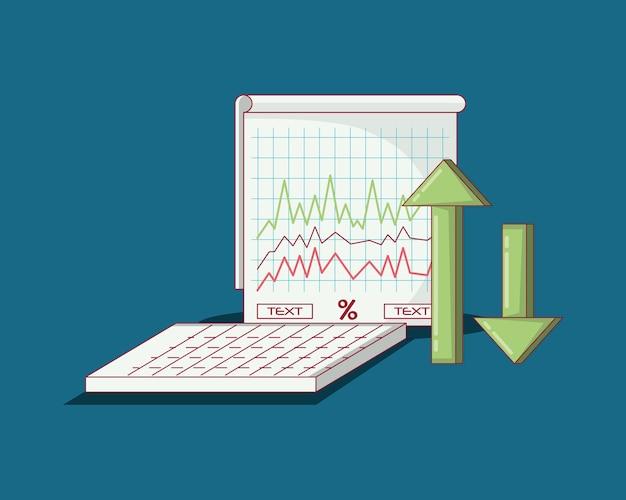 Gráfico gráfico y flechas financieras