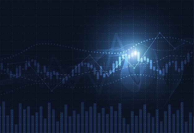 Gráfico de gráfico de negocio vela palo de inversión bursátil