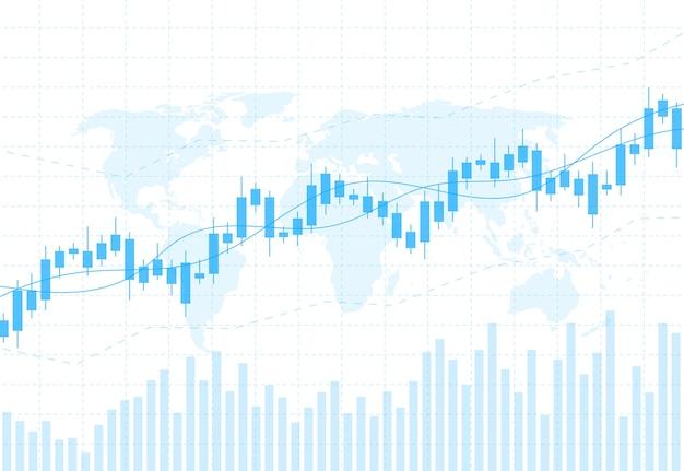Gráfico de gráfico de negocio vela palo del mercado de valores