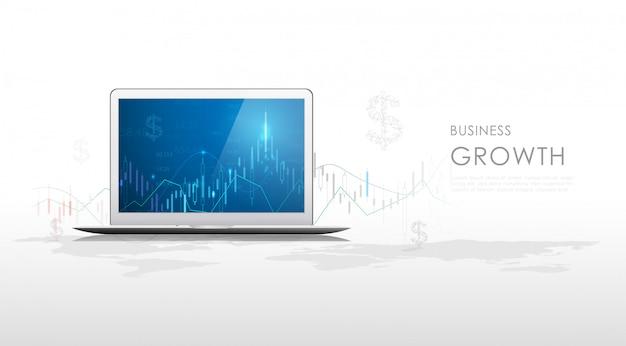 Gráfico de gráfico de palo de vela empresarial del comercio de inversión del mercado de valores en monitor de tableta.