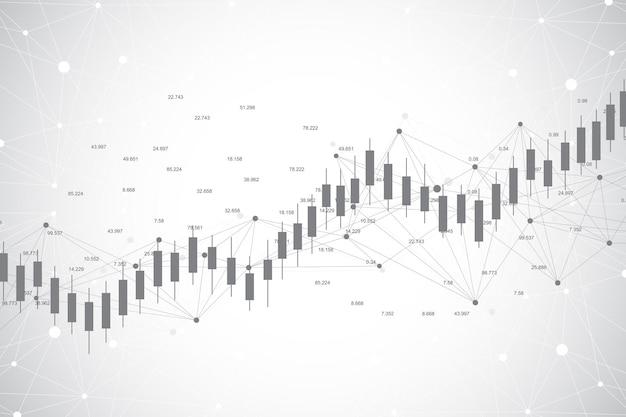 Gráfico del gráfico del palo de la vela del negocio de la ilustración del comercio de inversión del mercado de valores
