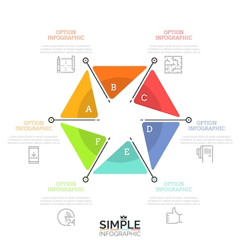 Gráfico hexagonal dividido en 6 sectores con letras, iconos de líneas finas y cuadros de texto. concepto de seis características del proceso de desarrollo empresarial.