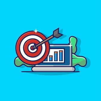 Gráfico de ilustración de business target con el icono de la computadora portátil y el tablero de dardos