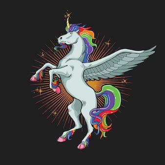 Gráfico de ilustración de caballo unicornio