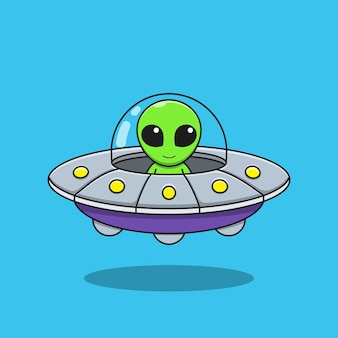 Gráfico de ilustración de dibujos animados alienígena está conduciendo un platillo volante