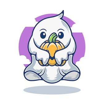 Gráfico de la ilustración del fantasma lindo de la mascota que sostiene la calabaza