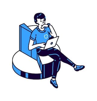 Gráfico, ilustración de icono de vector isométrico de gráfico circular, analista masculino haciendo análisis financiero