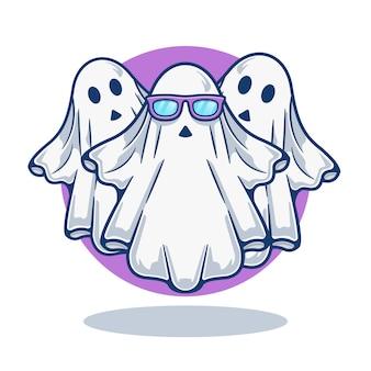 Gráfico de ilustración de mascota lindo fantasma con anteojos