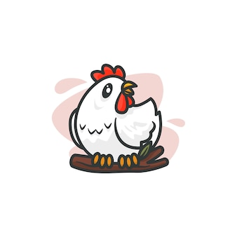 Gráfico de la ilustración de la mascota del pollo, perfecto para logotipo, icono o mascota.