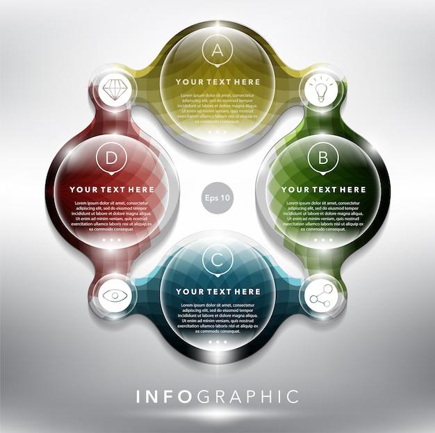 Gráfico de información abstracta con elementos del círculo. concepto de 4 partes.
