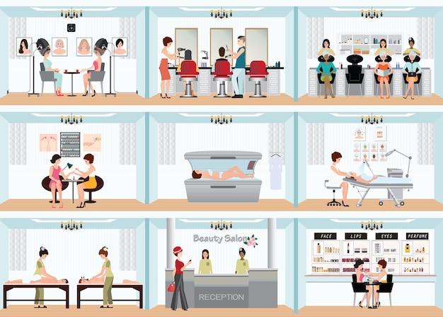 Gráfico de información de salón de belleza de personas en el spa y diversos procedimientos de belleza.