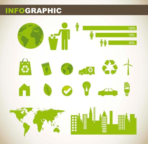 Gráfico de información con signo de personas y elementos verdes ilustración vectorial