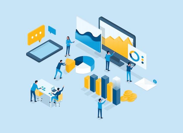 Gráfico de informe de análisis del equipo de inversión de finanzas comerciales isométricas en el concepto de tablero del monitor y el concepto de trabajo del equipo empresarial