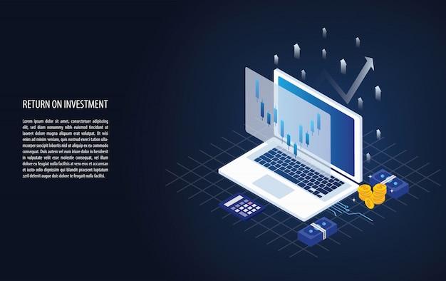 Gráfico isométrico de retorno de la inversión roi y gráfico en una computadora portátil