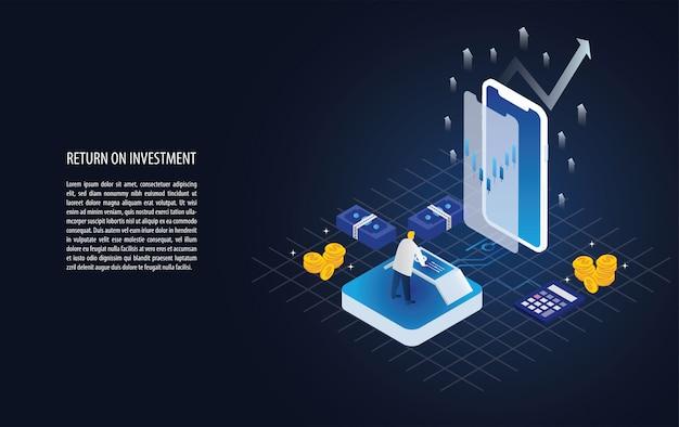 Gráfico isométrico de retorno de la inversión roi y gráfico en un teléfono inteligente