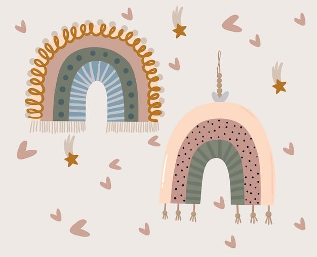 Gráfico lindo del arco iris del bebé. tarjeta de plantilla perfecto para tarjetas de felicitación, impresión, proyectos de bricolaje, blogs, ilustración de tarjetas de agradecimiento