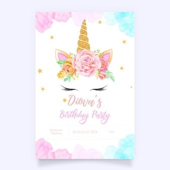 Gráfico lindo unicornio con corona de flores