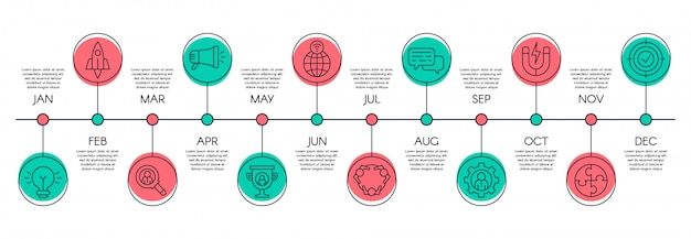 Gráfico de línea de tiempo. pasos del proceso empresarial, escala de tiempo del flujo de trabajo y concepto de diseño de gráfico infográfico