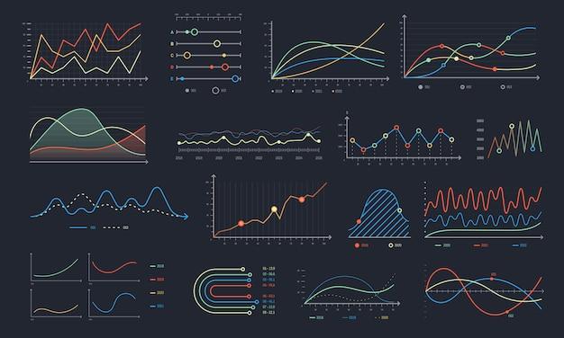 Gráfico de líneas. crecimiento de gráfico lineal, gráficos de diagrama de negocios y conjunto aislado de gráfico de histograma colorido