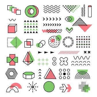 Gráfico de memphis. 90s moda líneas geométricas puntos formas modernas triángulos vector formas funkie memphis. ilustración elementos de doodle geométricos de moda vintage