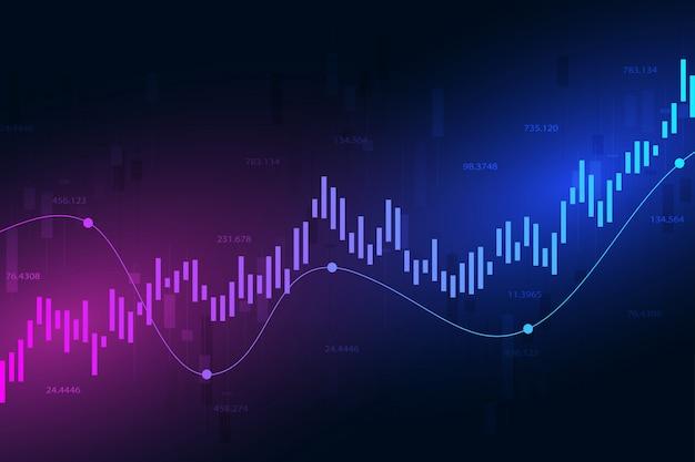 Gráfico del mercado de valores o gráfico de comercio de divisas para empresas