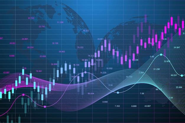 Gráfico del mercado de valores o gráfico de comercio de divisas.