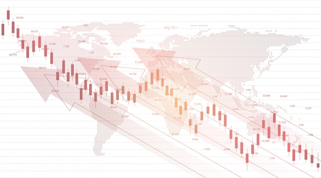 Gráfico del mercado de valores o gráfico de compraventa de divisas para conceptos comerciales y financieros.