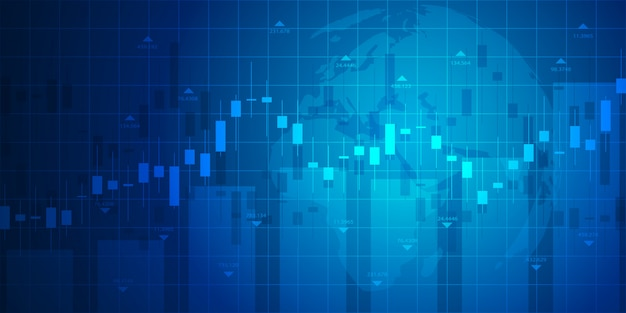 Gráfico del mercado de valores o gráfico de compraventa de divisas para negocios y conceptos financieros