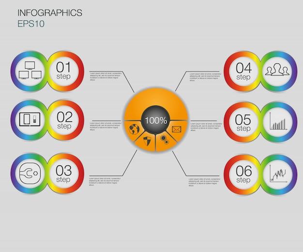 Gráfico de negocios, pasos de fondo infografía. plantilla de banners / etiquetas de número o plantilla de sitio web.